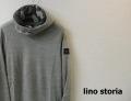 lino storia (リノストーリア) パンチングレザーエンブレムオフスタンドニットプルパーカ/カモフラ柄パーカ (グレー) M/L