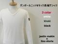 lino storia x jastin makin ダンボールニットVネック長袖Tシャツ /ロンT  3 colar (ホワイト/カーキ/ブラック) M/L