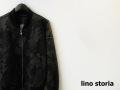 lino storia (リノストーリア) レザーエンブレム/スター モノトーンカモフラ柄MA-1ジャケット/ジャージージャケット(ブラック) M/L