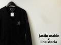 『プレミアムセール!』 jastinmakin x lino storia (ジャスティンメイキン x リノストーリア) スリムフィット Vネックスターデザインカーディガン (ブラック) M/L