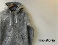 『WINTER CLEARANCE SALE!』lino storia(リノストーリア) MIXカラーフリーススウェットフルジップパーカ (ライトグレー) M/L