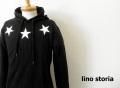 lino storia(リノ ストーリア) スターデザインスウェットプルオーバーパーカ(ブラック) M/L