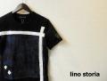 lino storia(リノストーリア) リーフデザインカットオフクルーネック半袖Tシャツ (ブラック) M/L 『限定品』