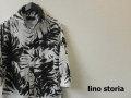 lino storia(リノストーリア) ボタニカルリーフホリゾンタルカラー7分袖シャツ/コットンリネンシャツ (ホワイトxブラック) M/L/XL