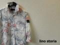 lino storia(リノストーリア) ボタニカルホリゾンタルカラー7分袖シャツ/コットンリネンシャツ (ホワイトxサックス) M/L/XL