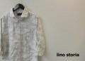 lino storia(リノストーリア) ホワイトカモフラホリゾンタルカラー7分袖シャツ/コットンリネンシャツ (ホワイトxグレー) M/L/XL