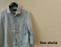 lino storia(リノストーリア) ホリゾンタルカラー7分袖シャツ/コットンリネンシャツ (サックス) M/L/XL