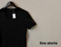 lino storia(リノ ストーリア) スリムフィット針抜きテレコレザーエンブレムエンブレムVネック半袖Tシャツ (ブラック)  M/L/XL 【限定品】