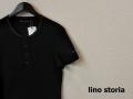 lino storia(リノ ストーリア) サーマルヘンリーネックレザーエンブレム半袖Tシャツ (ブラック) M/L 『限定品』