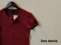 lino storia(リノ ストーリア)  レザーエンブレムスリムフィット針抜きヘンリーネック半袖Tシャツ (ワイン) M/L