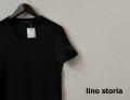 lino storia(リノ ストーリア) レザーエンブレムスリムフィット針抜きUネック半袖Tシャツ (ブラック) M/L/XL