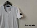 lino storia(リノ ストーリア) レザーエンブレムスリムフィット針抜きUネック半袖Tシャツ (ホワイト) M/L/XL