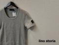lino storia(リノ ストーリア) レザーエンブレムスリムフィット針抜きUネック半袖Tシャツ (トップグレー) M/L/XL