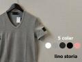 【リノストーリア プレミアムタイムセール!】 lino storia(リノ ストーリア) レザーエンブレムスリムフィット針抜きVネック半袖Tシャツ 5 colar  M/L/XL