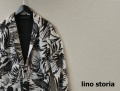 【プレミアムサマーセール!】 lino storia(リノストーリア) リーフデザイン1Bテーラードジャケット/サマージャケット (ホワイトxブラック) M/L