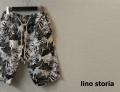 lino storia(リノストーリア) ボタニカルプリペラコットンショーツ/ハーフパンツ (ホワイトxブラック) M/L 【限定品】
