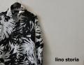 lino storia(リノストーリア) ボタニカルリーフホリゾンタルカラー長袖シャツ/コットンリネンシャツ (ホワイトxブラック) M/L/XL