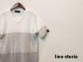 lino storia(リノストーリア) グラデーションフィッシャーマンサマーニット/半袖Tシャツ (ホワイトxグレー) S/M/L/XL