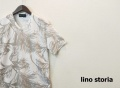【プレミアムサマーセール!】 lino storia(リノストーリア) リーフ総柄Vネック半袖Tシャツ (ホワイト) M/L/XL