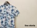 【プレミアムサマーセール!】 lino storia(リノストーリア) ボタニカル総柄Vネック半袖Tシャツ (ホワイトxブルー) M/L/XL