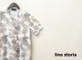 【プレミアムサマーセール!】 lino storia(リノストーリア) ボタニカル総柄Vネック半袖Tシャツ (ホワイトxグレー) M/L/XL