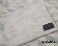 【超おすすめ!】【限定品】 lino storia(リノ ストーリア) レザーエンブレムモノトーンホワイトカモフラクラッチバッグ(ホワイト) 男女兼用/ペアにも♪
