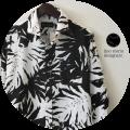 lino storia(リノストーリア) リーフ柄ホリゾンタルカラー長袖シャツ/コットンリネンシャツ (ホワイトxブラック) M/L/XL