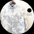 【プレミアムタイムセール!】 lino storia(リノストーリア) リーフ柄ホリゾンタルカラー7分袖シャツ/コットンリネンシャツ (ホワイトxグレー) M/L/XL