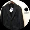 【プレミアムタイムセール!】 【今期おすすめ NO.1ジャケット!】 lino storia (リノストーリア) ピンストライプ柄ポンチスウェットテーラードジャケット (ブラック) M/L