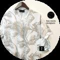 【最終値下げ!大処分価格!】【プレミアムサマーセール!】 lino storia(リノストーリア) リーフ総柄Vネック半袖Tシャツ (ホワイト) M/L/XL