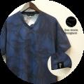 【プレミアムサマーセール!】 lino storia(リノストーリア) リーフ総柄Vネック半袖Tシャツ (ネイビー) M/L/XL