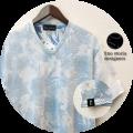 【プレミアムサマーセール!】 lino storia(リノストーリア) ボタニカル総柄裏地デザインVネック半袖Tシャツ (サックス) M/L/XL