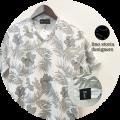 【プレミアムサマーセール!】 lino storia(リノストーリア) ボタニカル総柄Vネック半袖Tシャツ (ホワイトxグレー) M/L