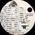【プレミアムサマーセール!】 lino storia(リノストーリア) ボタニカル総柄ボーダーVネック半袖Tシャツ (ホワイトxグレー) M/L