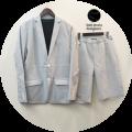 lino storia (リノストーリア) ストライプ柄2Bサマージャケット/ショートパンツ サマーセットアップ  (ホワイトxグレー) M/L  涼しい夏素材/きれいめコーデ