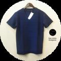 【プレミアムサマーセール!】 lino storia(リノストーリア) タック編みデザインVネック半袖Tシャツ (ネイビー) M/L