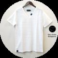 【プレミアムサマーセール!】 lino storia(リノストーリア) タック編みデザインVネック半袖Tシャツ (ホワイト) M/L