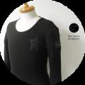 lino storia(リノ ストーリア) ネイビーカモフラスター サーマルUネック長袖Tシャツ (ブラック) M/L/XL 『限定品』