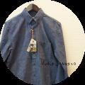 Nudie Jeans(ヌーディージーンズ) オーガニックコットンボタンダウンシャンブレーシャツ/無地長袖シャツ (インディゴブルー/グレー系) XS/S