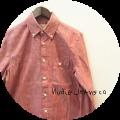 Nudie Jeans(ヌーディージーンズ) オーガニックコットンボタンダウンシャンブレーシャツ/無地長袖シャツ (レッド) XS/S