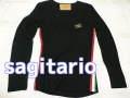 『特別価格』 sagitario サイドリブラインプレートデザインロンT/長袖Tシャツ(ブラック) S/M/L
