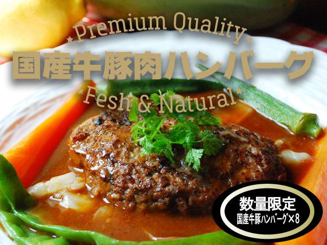 【送料無料】おすすめ国産牛豚肉ハンバーグ自家需要タイプ×8個入