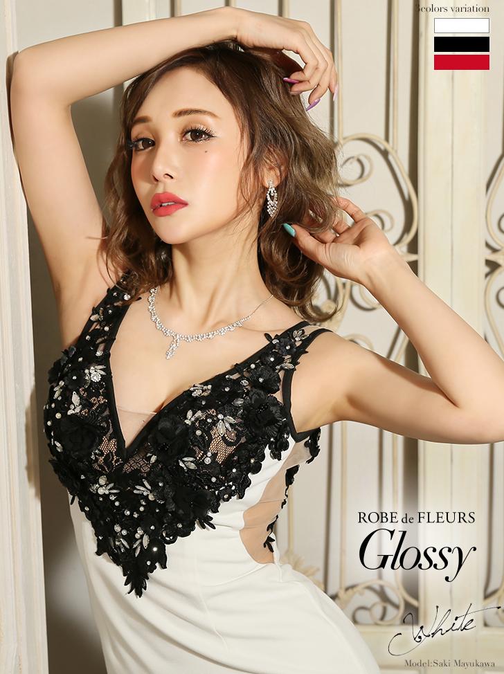【XSサイズあり】立体フラワーレース×サイドチュールタイトミニドレス(GL1810)