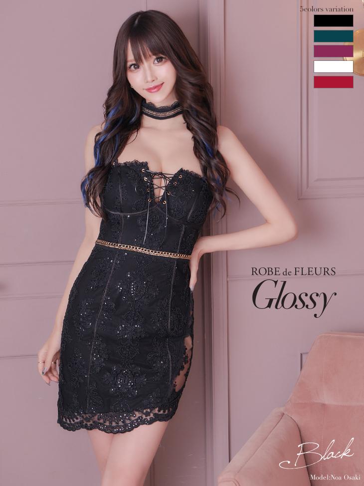 【XSサイズあり】Glitter lacy dress[肩紐・チョーカー付き](GL2193A)