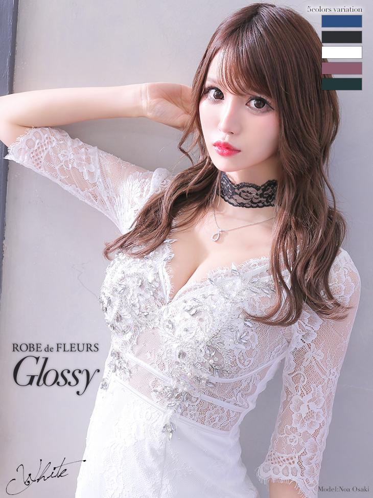 【XS~Lサイズあり】刺繍レース×ビジュータイトミニドレス(チョーカー付き)(GL2313)