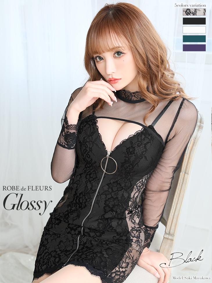 【XSサイズあり】フロントジッパー×ロングスリーブタイトミニドレス♡(GL2316)