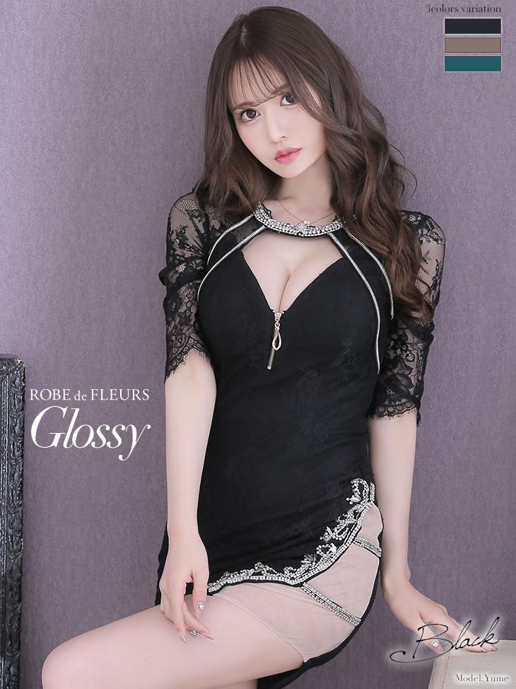 【XSサイズあり】片サイドチュール切替×フロントジッパータイトミニドレス(GL2363)