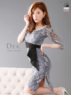 【Lサイズあり】総レース五分袖アシンメトリータイトドレス (DE1197)