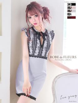 【XSサイズあり】 フラワーモチーフリボン×ケミカルレース台形スカートドレス(fm1571)