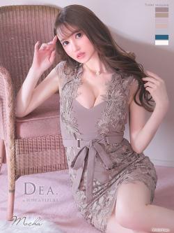【Lサイズあり】スパンコールフラワー刺繍レース×タイトミニドレス[リボンベルト付き](DE1763)
